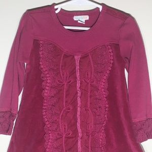 Naartjie LS Burgundy Velour Ruffle Dress/Tunic 4